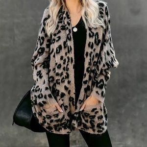 Restocked!!! Fuzzy Leopard Oversized Cozy Cardigan